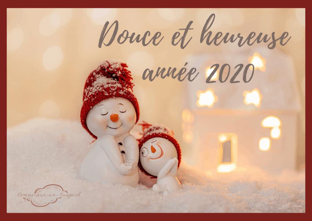Douces et heureuse année 2020. Personnage bonhomme de neige, dans un décor de neige avec un photophore à l'arrière